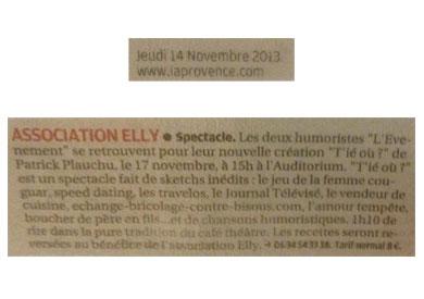 Article paru dans La Provence Le 14 Novembre 2013 - Association Elly (Salon de Provence 13300)