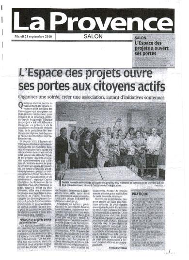 Article paru dans La Provence Le 21 Septembre 2010 - Association Elly (Salon de Provence 13300)