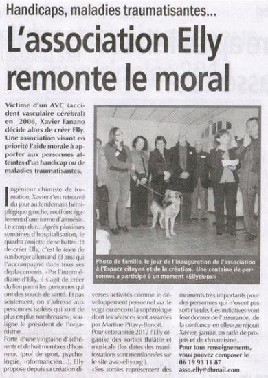 Article paru dans Le Régional Le 12 Février 2012 - Association Elly (Salon de Provence 13300)