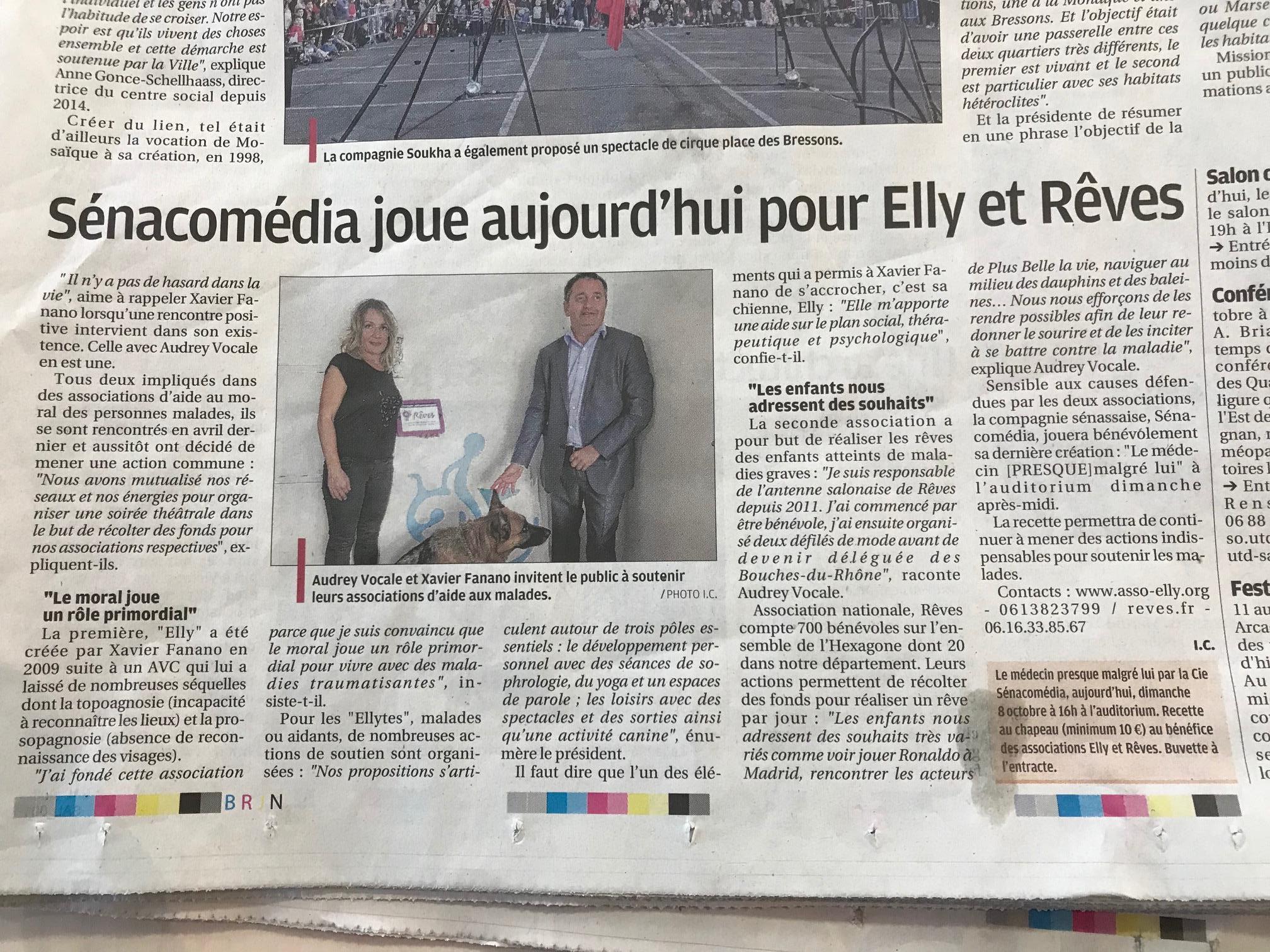 Article paru dans La Provence Le 08 Octobre 2017 - Association Elly (Salon de Provence 13300)