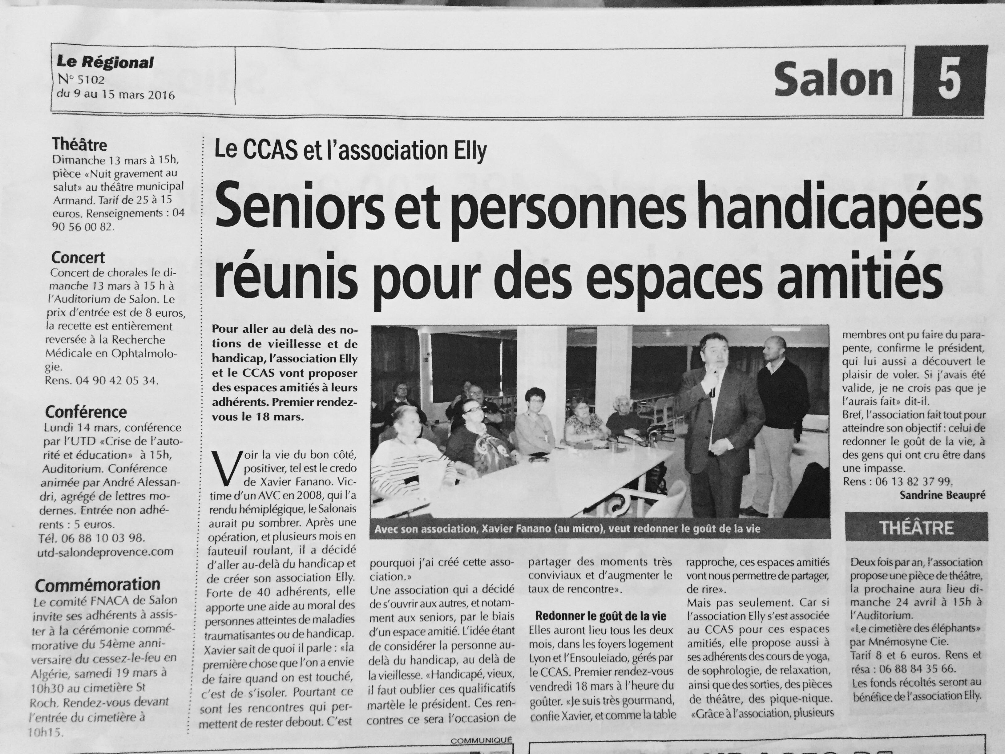 Article paru dans Le Régionnal  Le 09 Mars 2016 - Association Elly (Salon de Provence 13300)