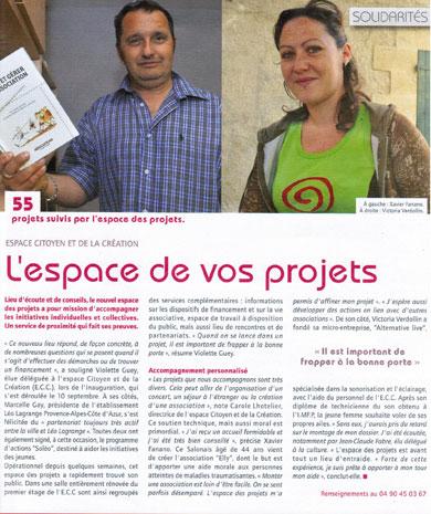 Article paru dans Ensemble En Novembre 2010 - Association Elly (Salon de Provence 13300)