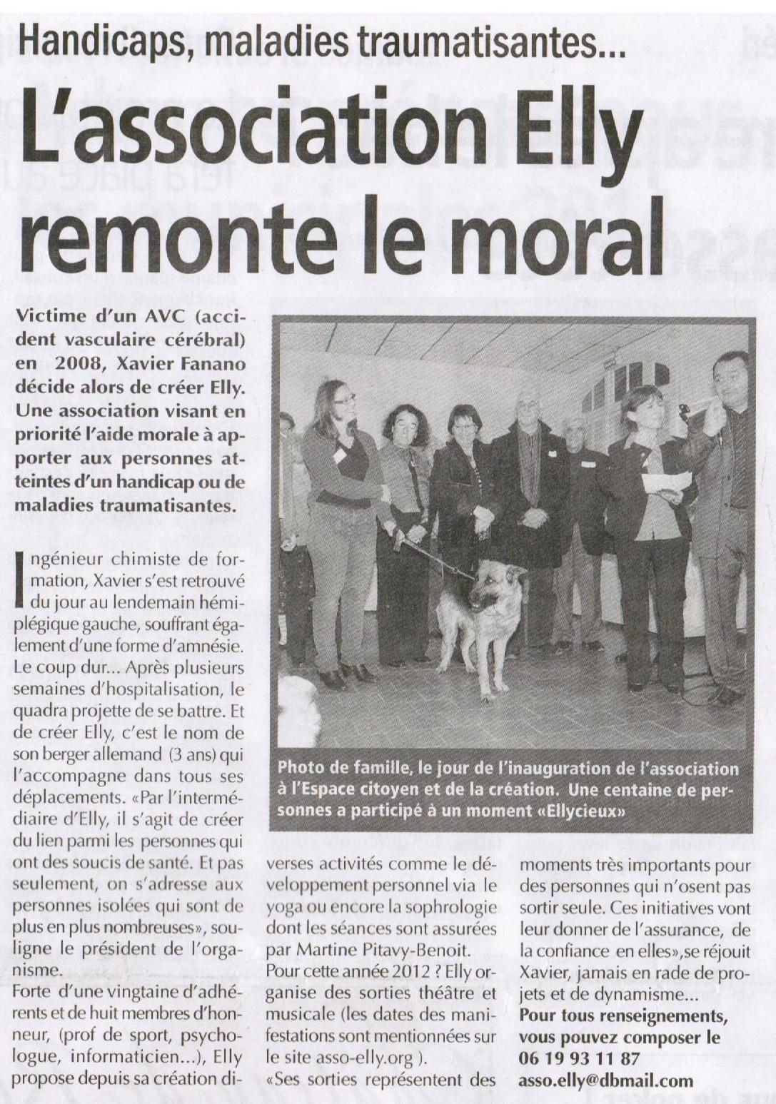 Article paru dans Le Régionnal Le 05 Octobre 2017 - Association Elly (Salon de Provence 13300)